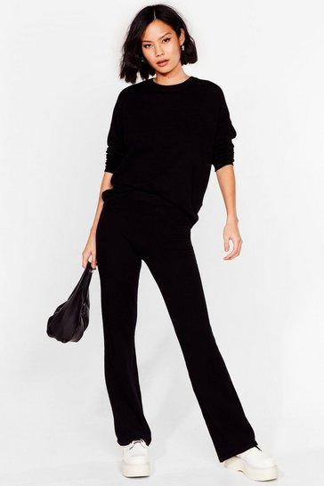 Black Knit's Our Way Sweater and Pants Lounge Set