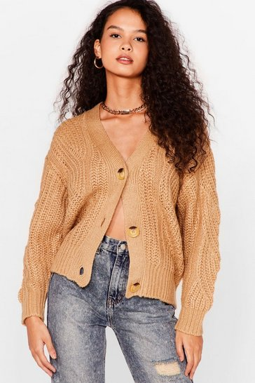 Camel Case in Pointelle Button-Down Cardigan