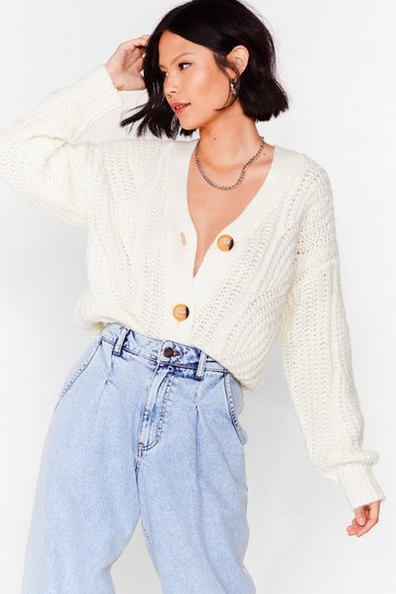 Ivory Case in Pointelle Button-Down Cardigan