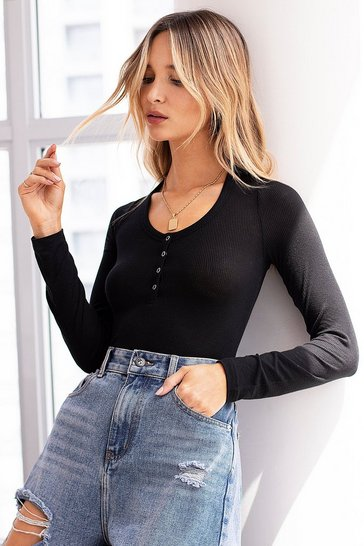 Black We Know the Scoop Ribbed Button-Down Bodysuit