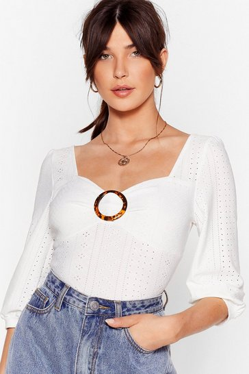 White Broidery Crop Tops
