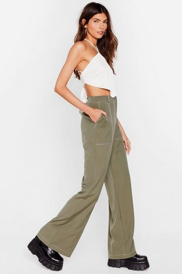 Sage Ideal Stitch-uation High-Waisted Wide-Leg Pants