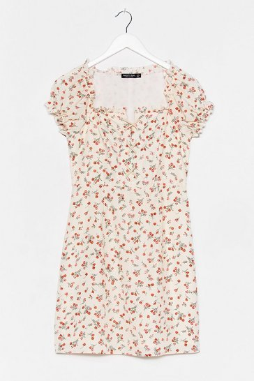Tongue Tied Floral Lace-Up Dress , Cream