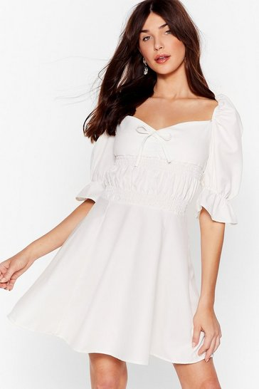 White From What You Gather Puff Sleeve Mini Dress