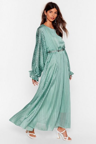 Mint Love Me Stripe Balloon Sleeve Maxi Dress