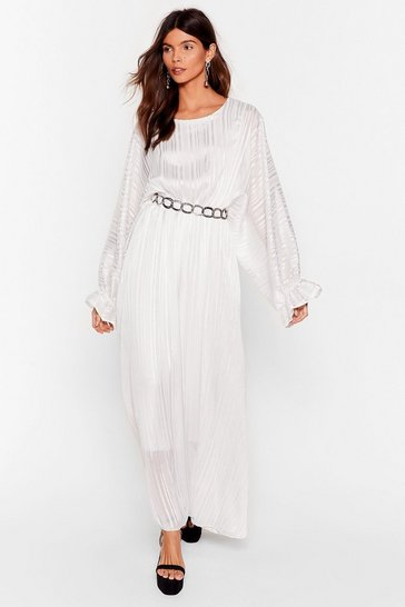 White Love Me Stripe Balloon Sleeve Maxi Dress