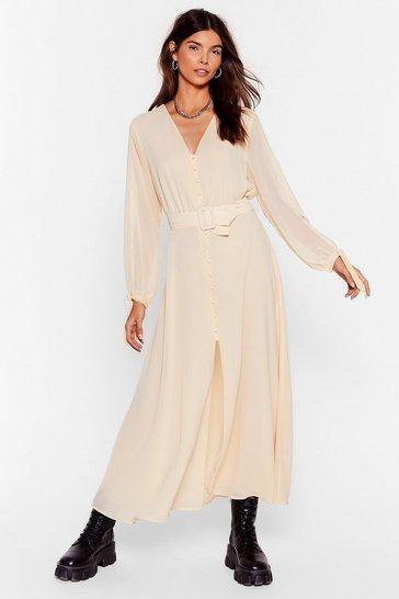 Cream Slit's Gotta Be You Belted Maxi Dress