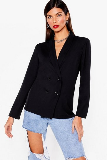 Black Work From Home Relaxed Double Breasted Blazer