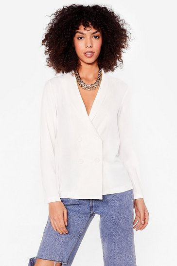 White Work From Home Relaxed Double Breasted Blazer