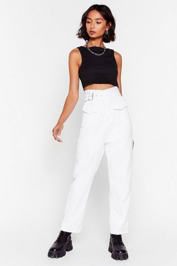 White Never Belt Better High-Waisted Buckle Jeans