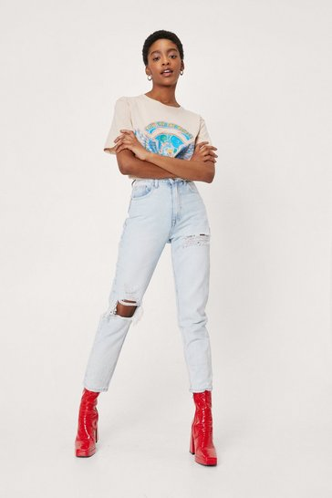 Blue Ripped Knee Distressed Mom Jeans