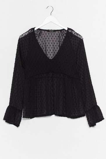 Black Smock to the Top Spotty Sheer Blouse