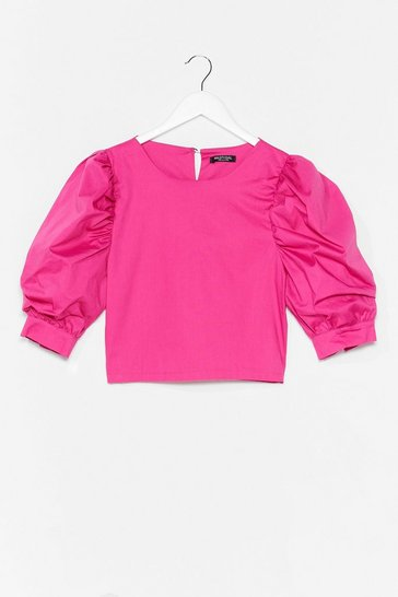 Hot pink Sleeve It Out Puff Sleeve Cropped Blouse