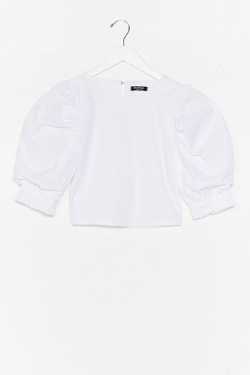 White Sleeve It Out Puff Sleeve Cropped Blouse