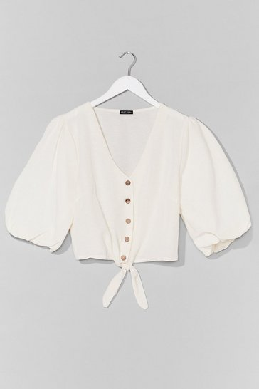 White One More Tie Puff Sleeve Cropped Blouse