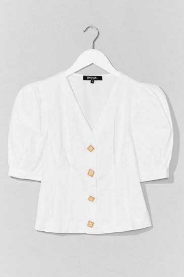 White Bright Like a Diamond Puff Sleeve Button-Down Blouse