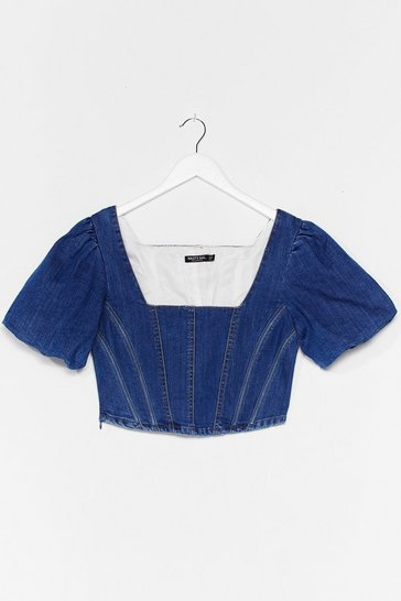 Mid blue Be Right Square Neck Denim Corset Top