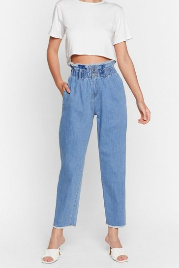 Vintage blue Get It Down On Paperbag Tapered Jeans