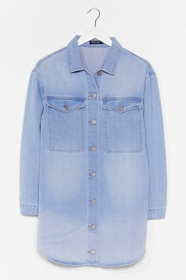 Light blue Washing the World Go By Denim Mini Dress
