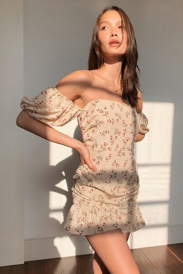 Beige Got to Grow Floral Off-the-Shoulder Dress
