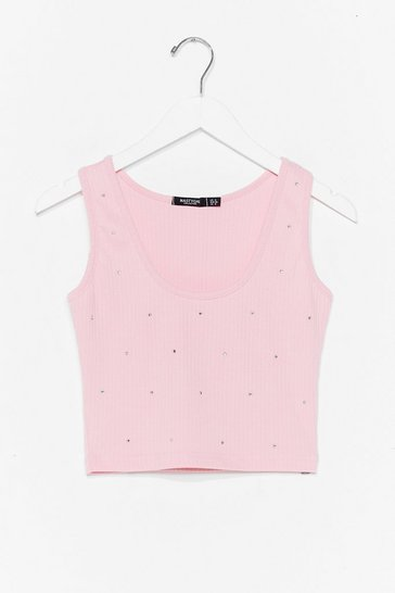 Pink Diamante Embelished Sleeveless Crop Top