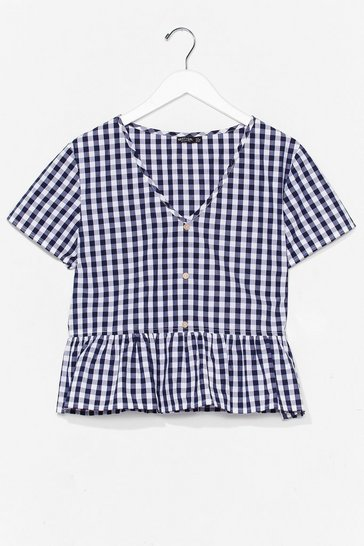 Black Gingham the Boot Cropped Ruffle Top