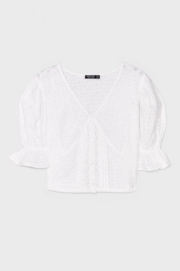 White Love Story Broderie Anglaise Crop Top