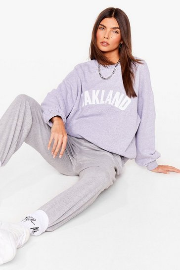 Grey Oakland Graphic Oversized Sweatshirt