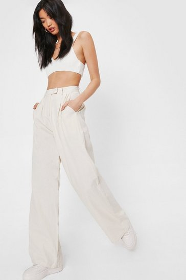 Beige Linen a Hint High-Waisted Wide-Leg Pants