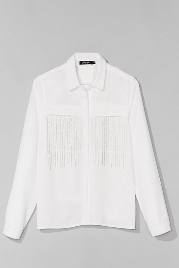 White On My Sway Diamante Fringe Shirt