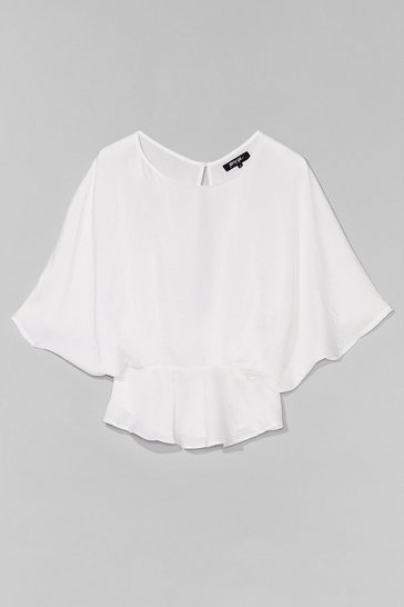 White The Keyhole to Success Batwing Blouse