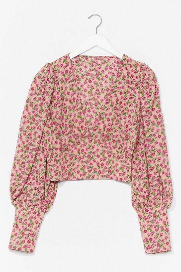 Beige Floral Deep Cuff Top