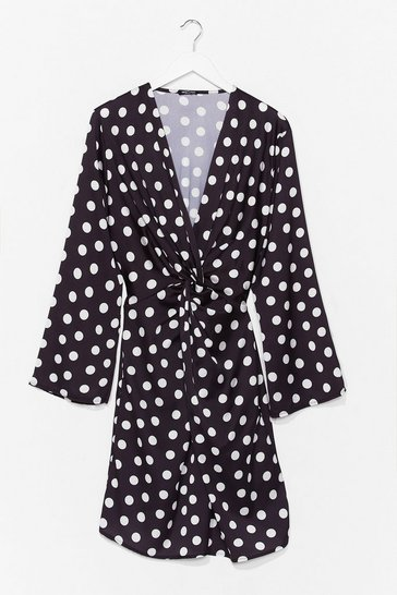 Black Plus Size Polka Dot Twisted Mini Dress