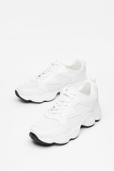 White Tread Carefully Faux Leather Chunky Trainers