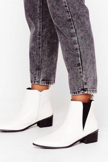 White Walk That Walk Faux Leather Chelsea Boots
