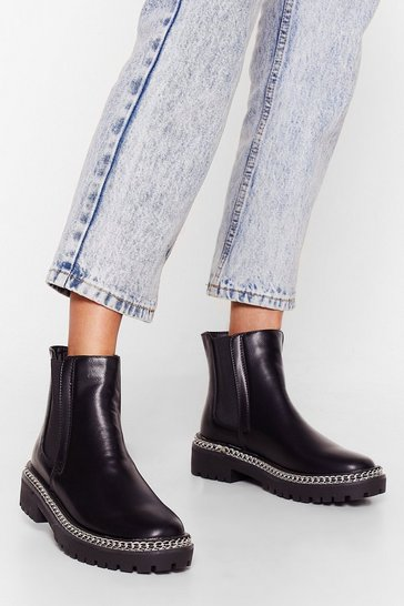 Black Wouldn't Chain-ge a Thing Faux Leather Chelsea Boots