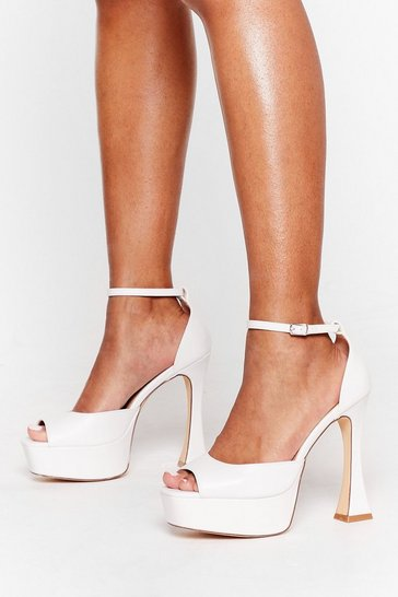 White Kick 'Em to the Curb Peep Toe Heels