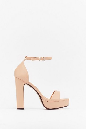 Nude Faux Leather Block Platform Heels