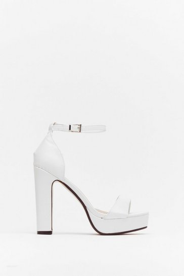 White On the Rise Faux Leather Platform Heels