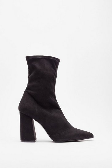 Black Don't Suede Away Heeled Sock Boots