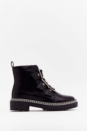 Black Walk That Way Faux Leather Buckle Boots