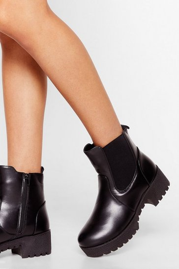 Black The Cleat is On Faux Leather Chelsea Boots