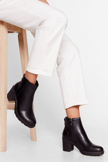 Black How Would You Heel Faux Leather Ankle Boots