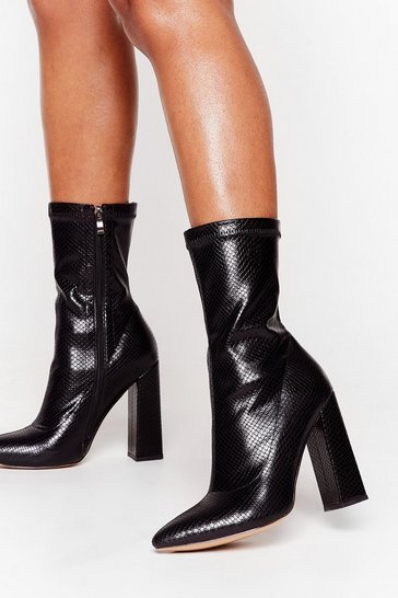 Black Snake My Heart Away Faux Leather Heeled Boots