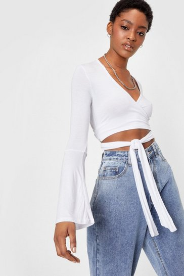 White Who Flares Tie Crop Top