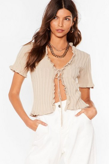 Stone Short and Sweet Ruffle Tie Front Cardigan
