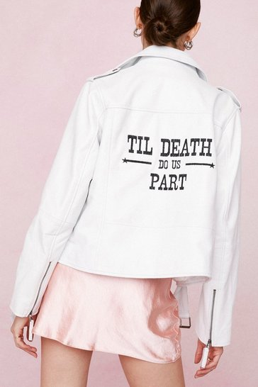 White Till Death Do Us Part Graphic Bridal Leather Jacket