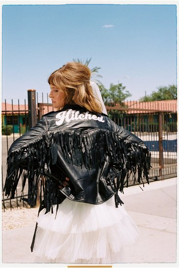 Black Just Hitched Graphic Leather Fringe Jacket