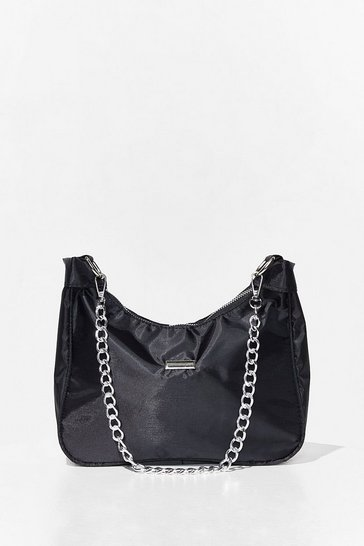Black Chain Strap Zip Close Shoulder Bag