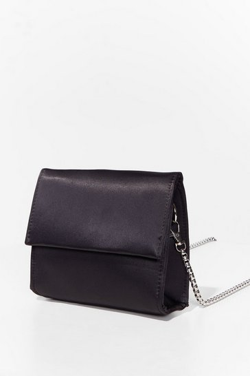 Black WANT Sleek 'Em Out Satin Crossbody Bag